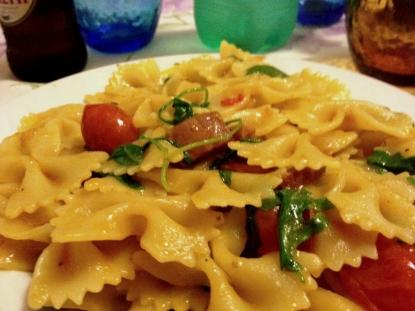 Primi piatti: rucola speck e pomodorini